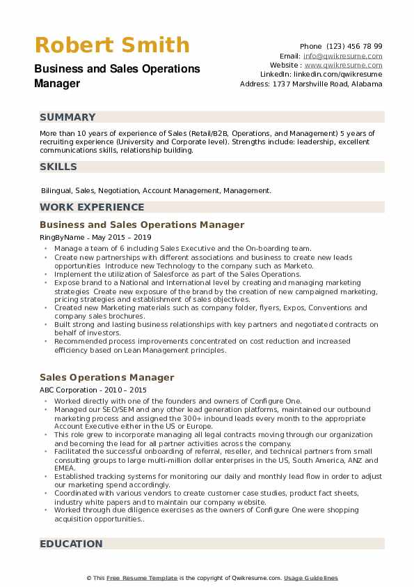 Business and Sales Operations Manager Resume Sample