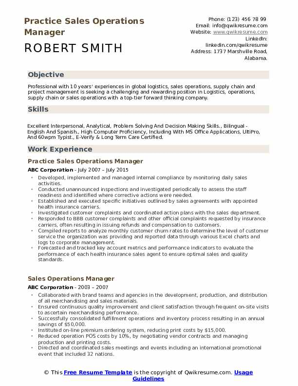 Practice Sales Operations Manager Resume Sample