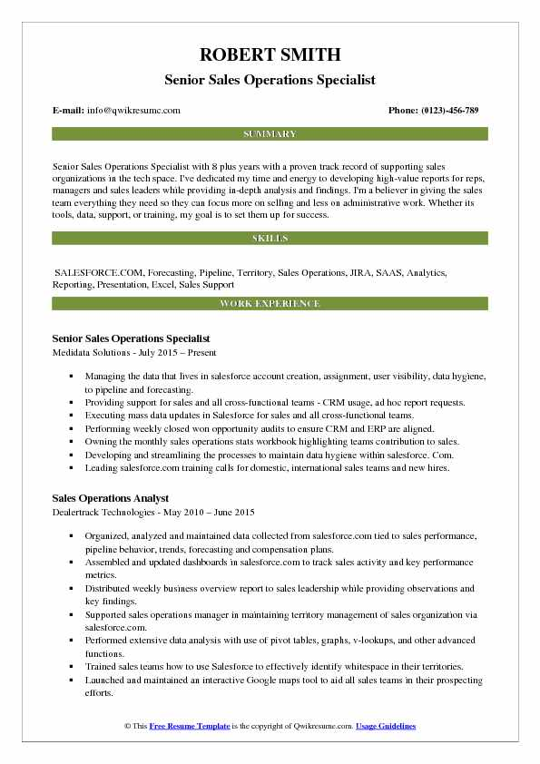 sales operations specialist resume samples
