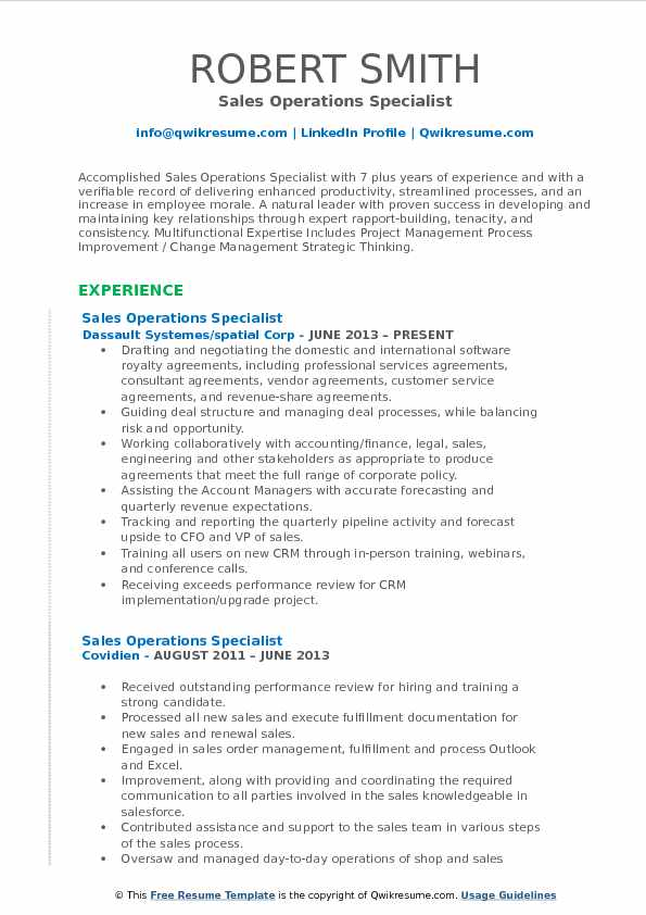 Sales Operations Specialist Resume Format