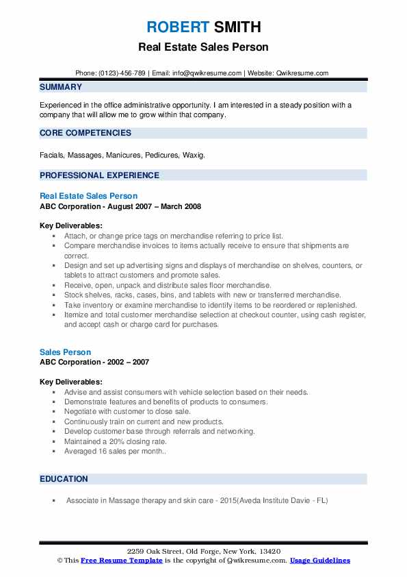 Real Estate Sales Person Resume Template