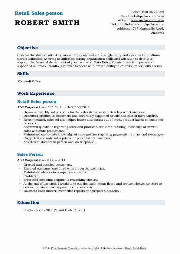 Retail Sales person Resume Sample