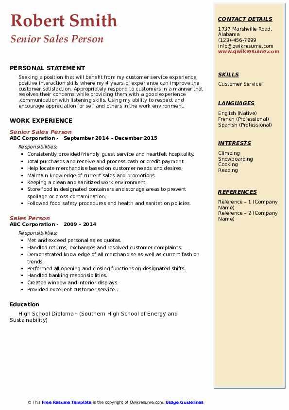 Senior Sales Person Resume Model