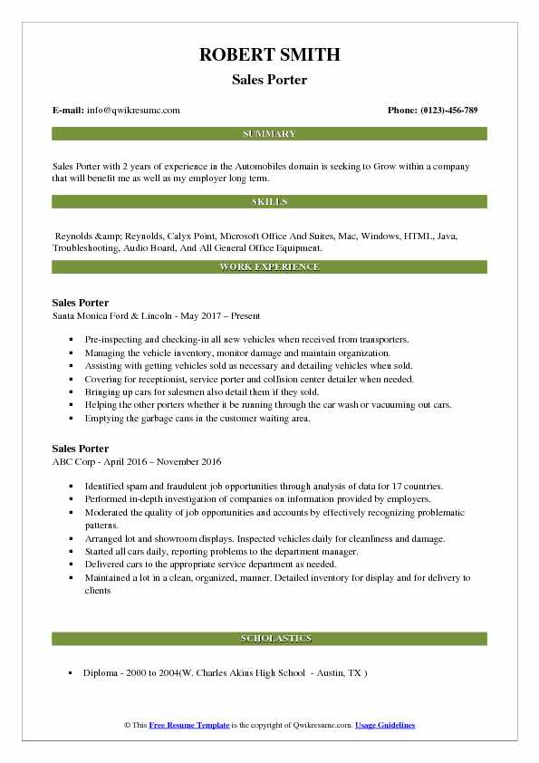 Sales Porter Resume Format