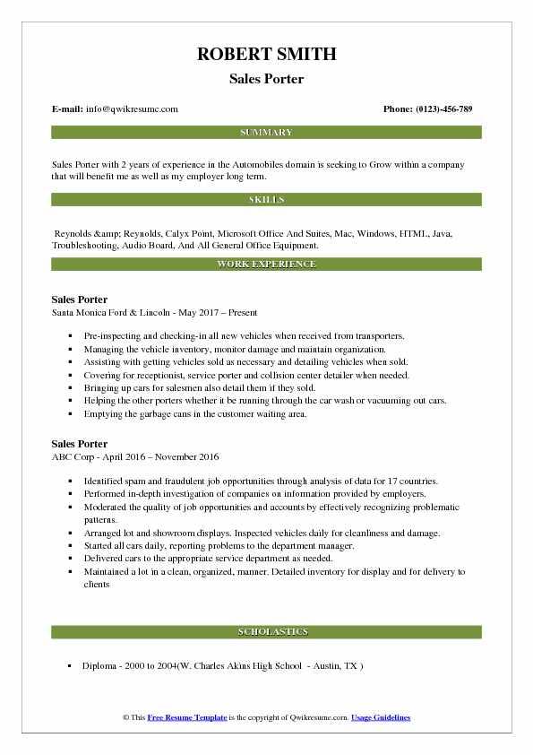 Sales Porter Resume Template