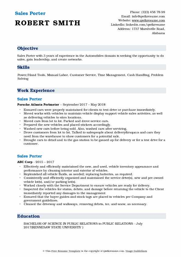 Sales Porter Resume Example