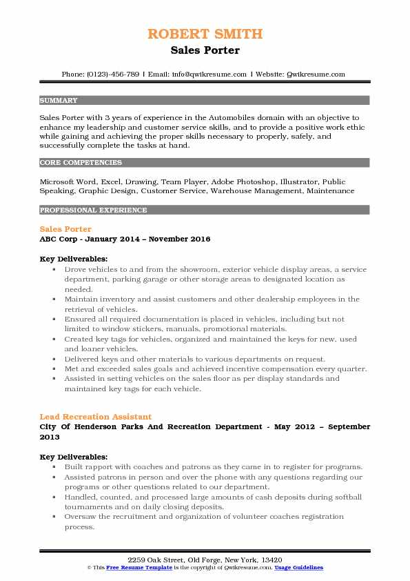 Sales Porter Resume Sample