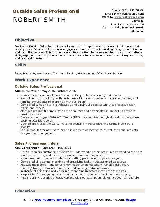 Outside Sales Professional Resume Template