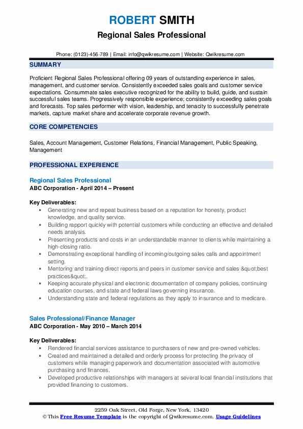 Regional Sales Professional Resume Template