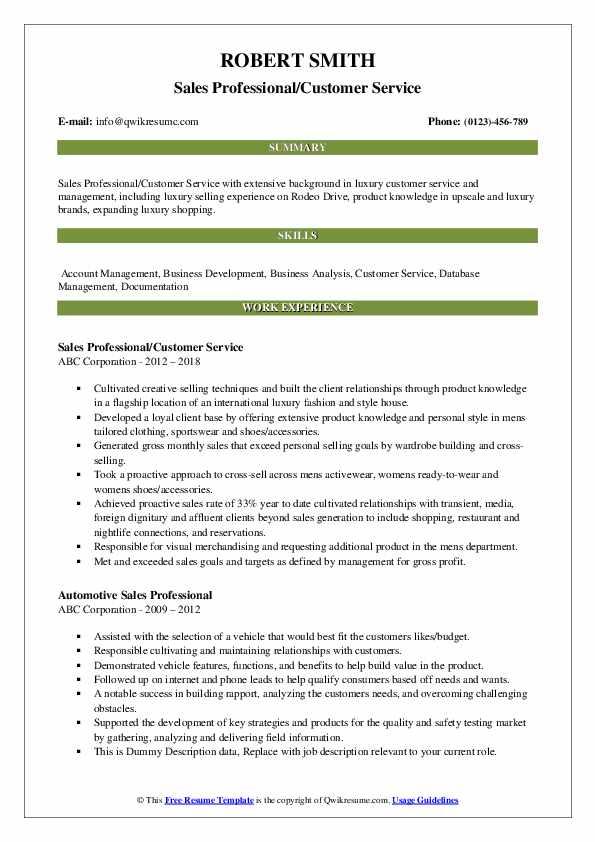 Sales Professional/Customer Service Resume Model