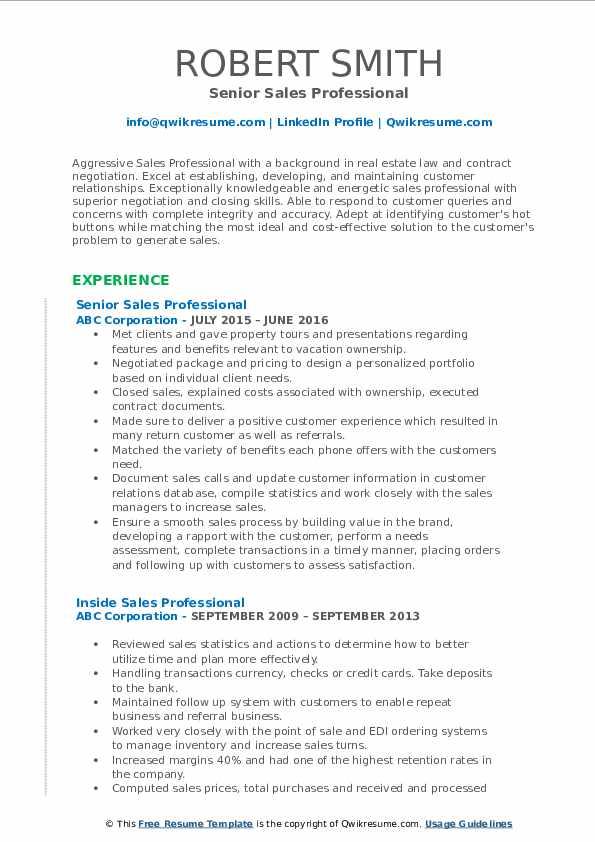Senior Sales Professional Resume Model