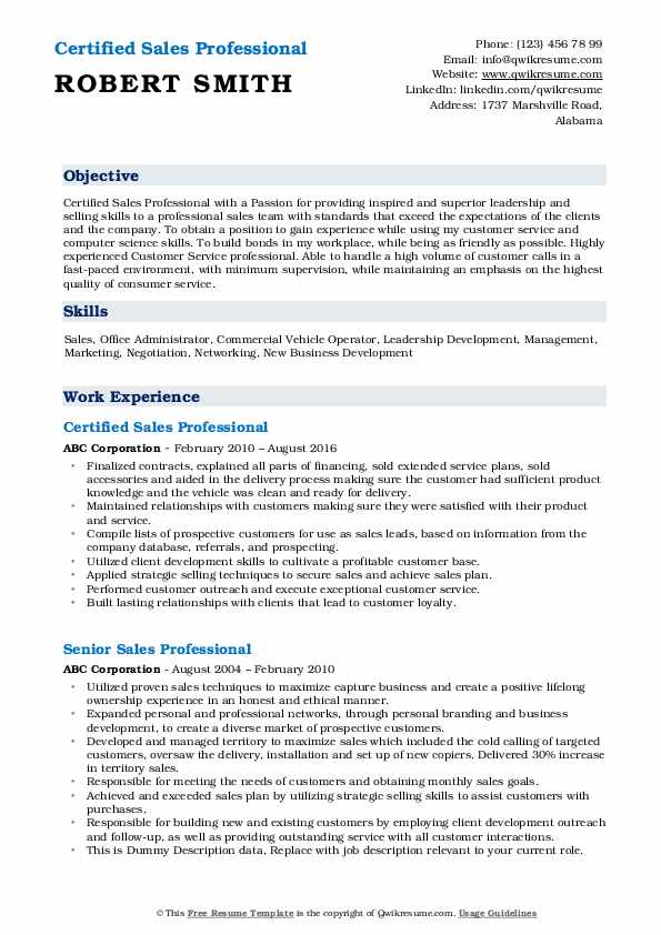 Certified Sales Professional Resume Sample