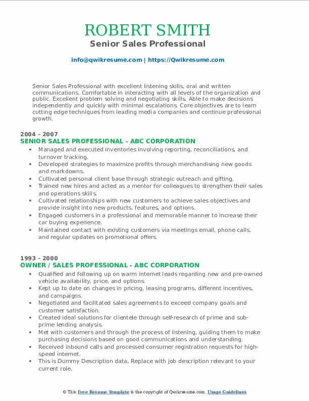 Senior Sales Professional Resume Template