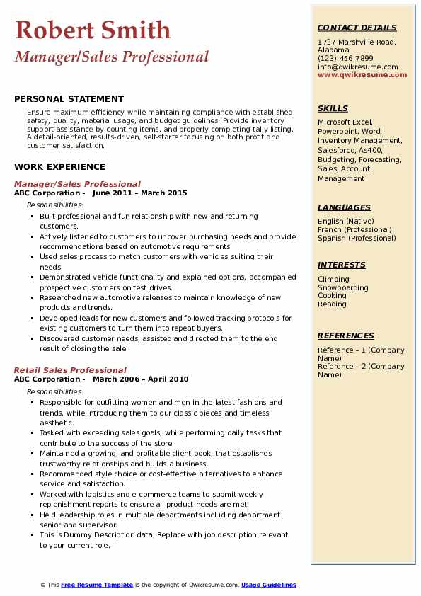 Manager/Sales Professional Resume Template