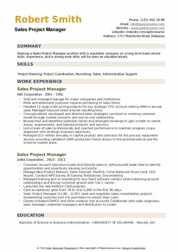 Sales Project Manager Resume Samples Qwikresume