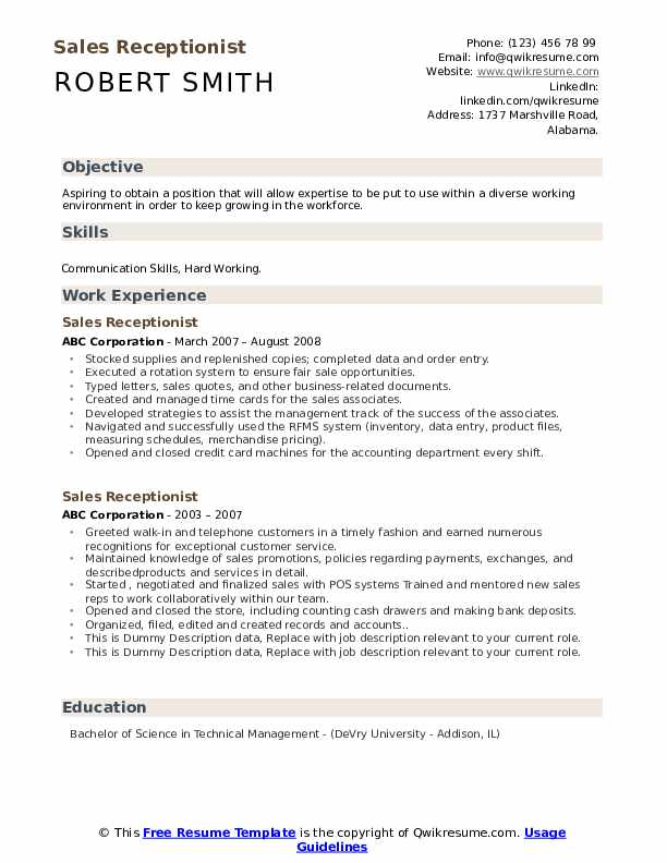 Sales Receptionist Resume example