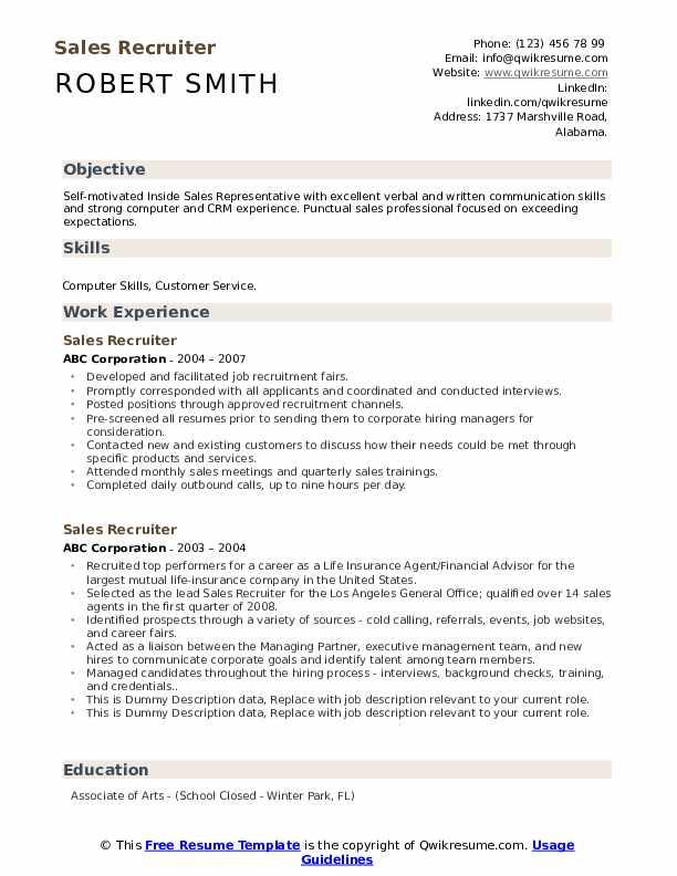 Sales Recruiter Resume example
