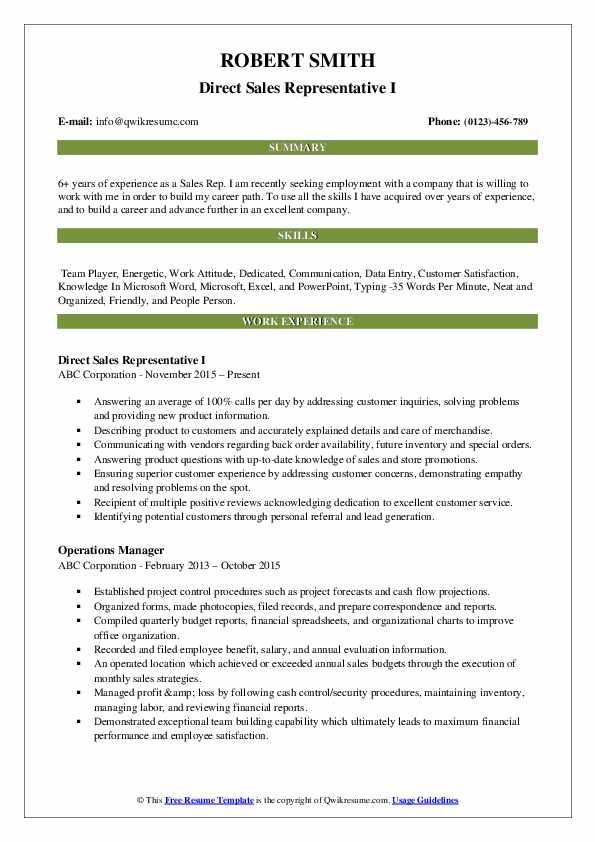 Direct Sales Representative I Resume Format