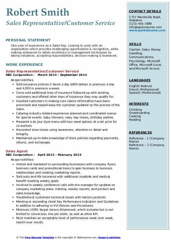 Sales Representative/Customer Service Resume Format