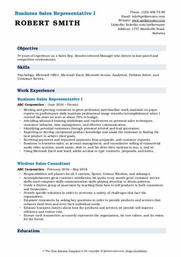 Business Sales Representative I Resume Format
