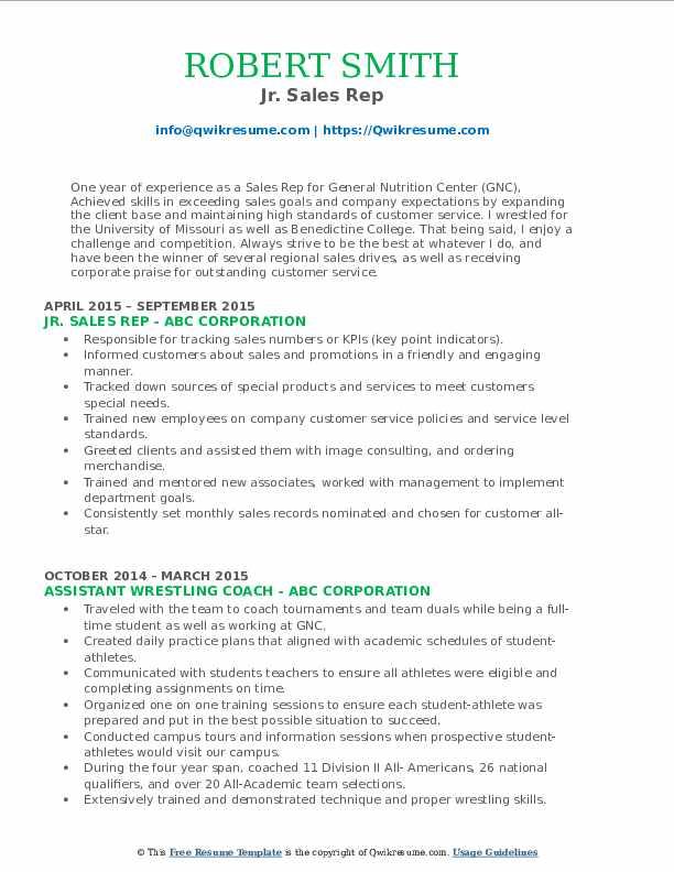 Jr. Sales Rep Resume Sample