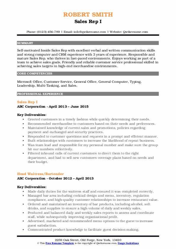 Sales Rep I Resume Template