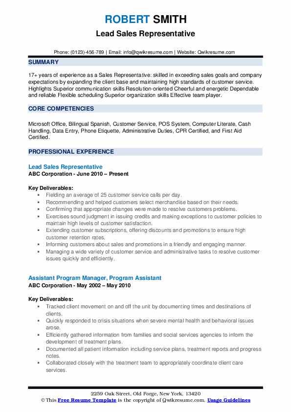 Lead Sales Representative Resume Model