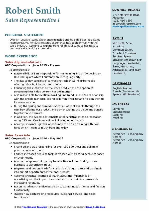 Sales Representative I Resume Format