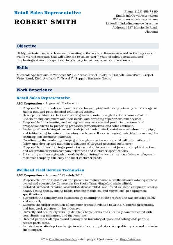 Retail Sales Representative  Resume Example