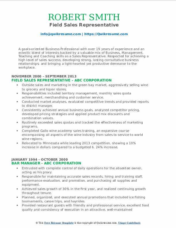 Field Sales Representative Resume Format