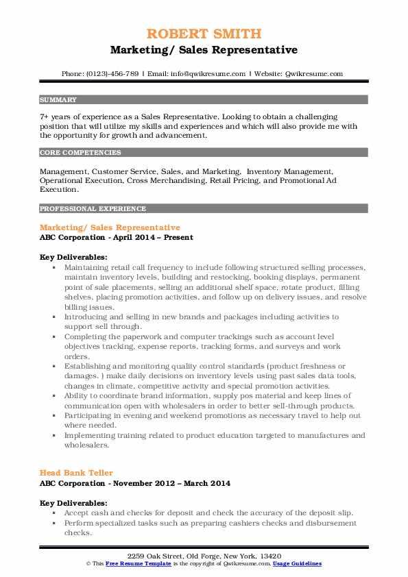 Marketing/ Sales Representative Resume Model