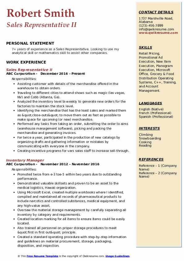 Sales Representative II Resume Sample