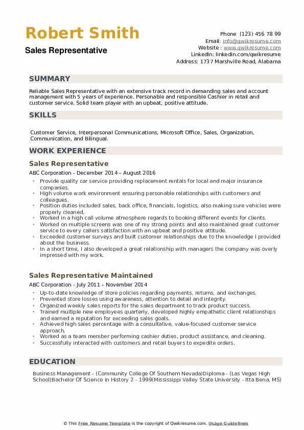 Sales Representative Resume example