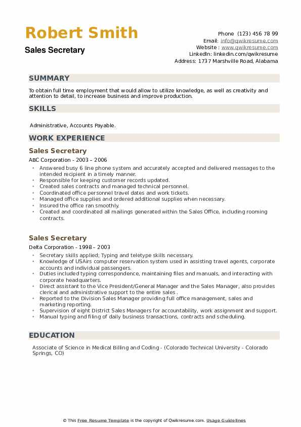 Sales Secretary Resume example