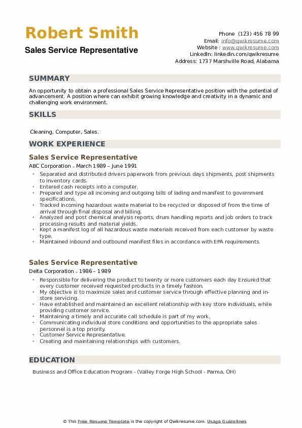 sales service representative resume samples  qwikresume
