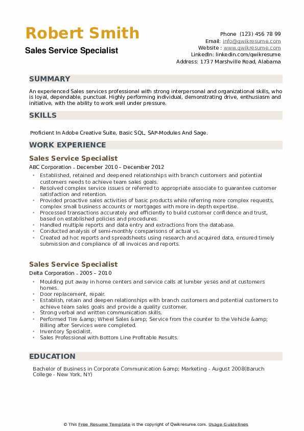Sales Service Specialist Resume example