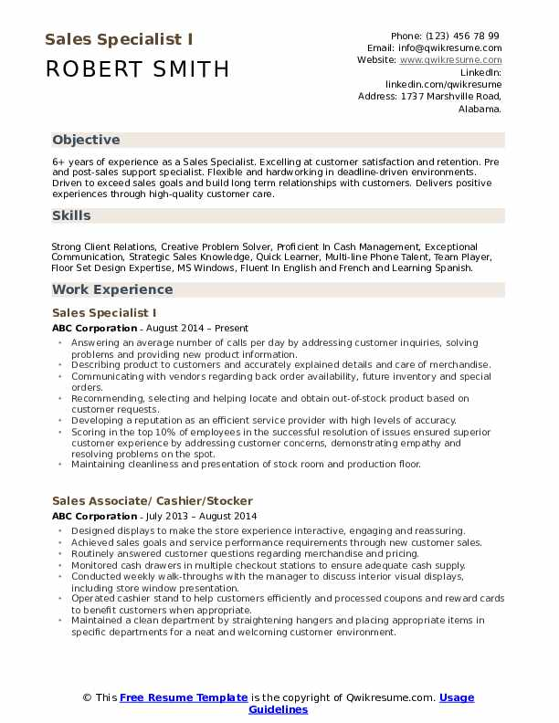 Sales Specialist I Resume Example