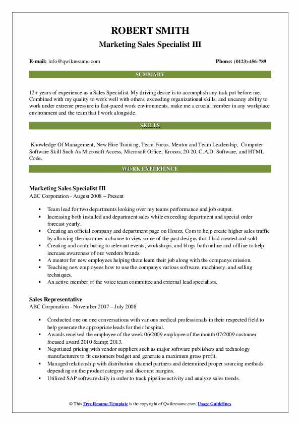 Marketing Sales Specialist III Resume Model