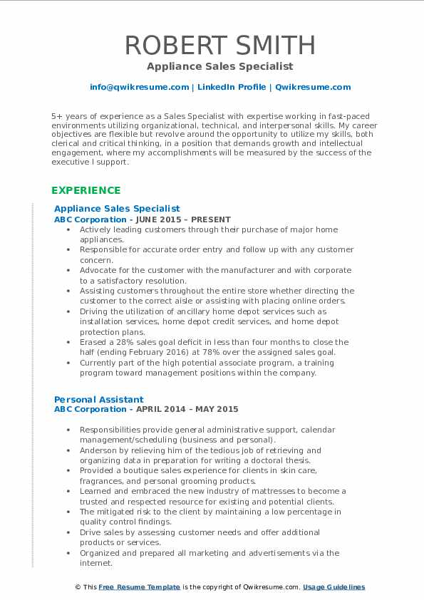 Appliance Sales Specialist Resume Example