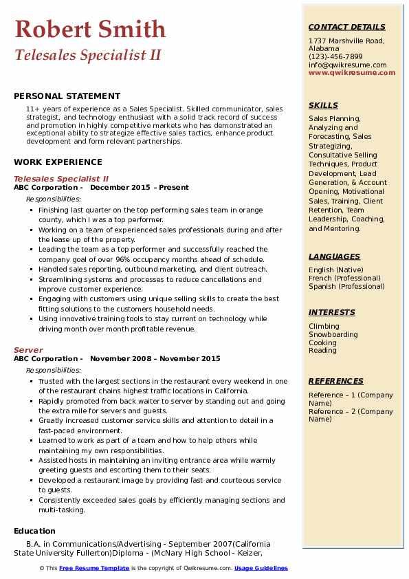 Telesales Specialist II Resume Format