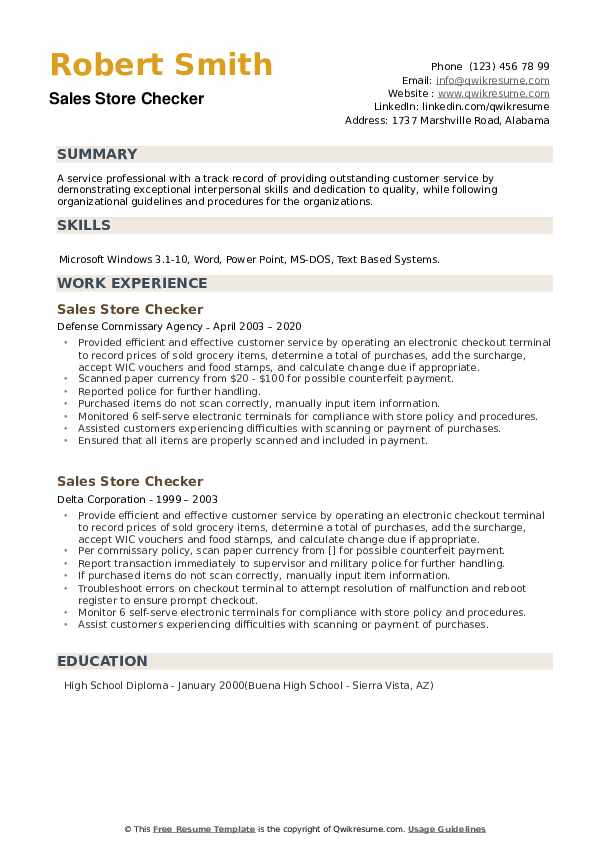 sales store checker resume samples