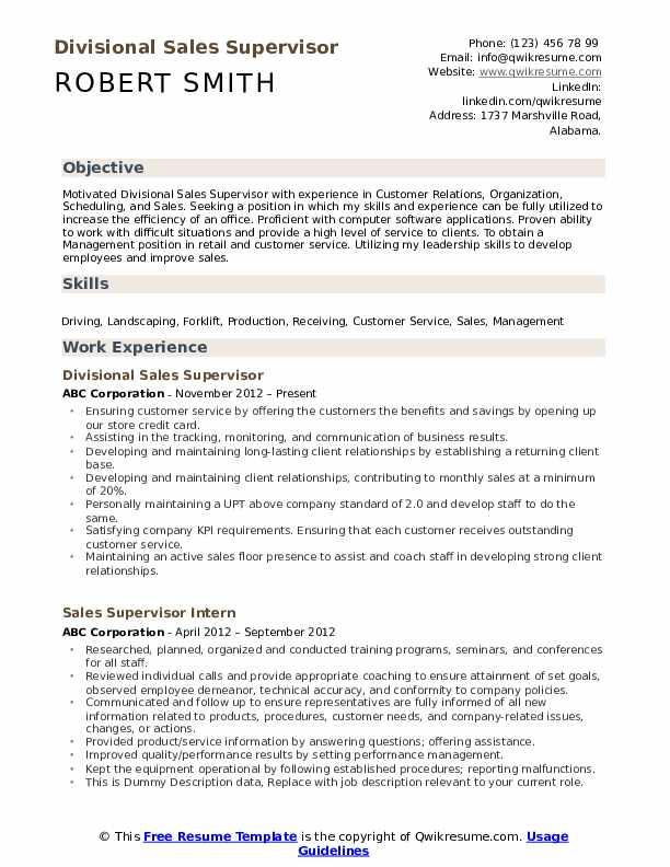 Divisional Sales Supervisor Resume Format