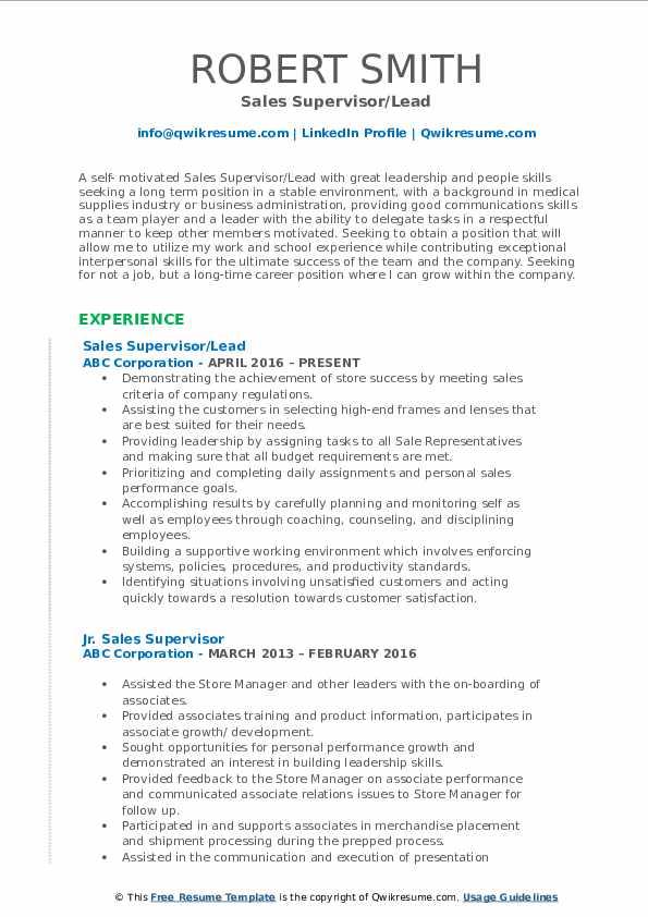 Sales Supervisor/Lead Resume Format