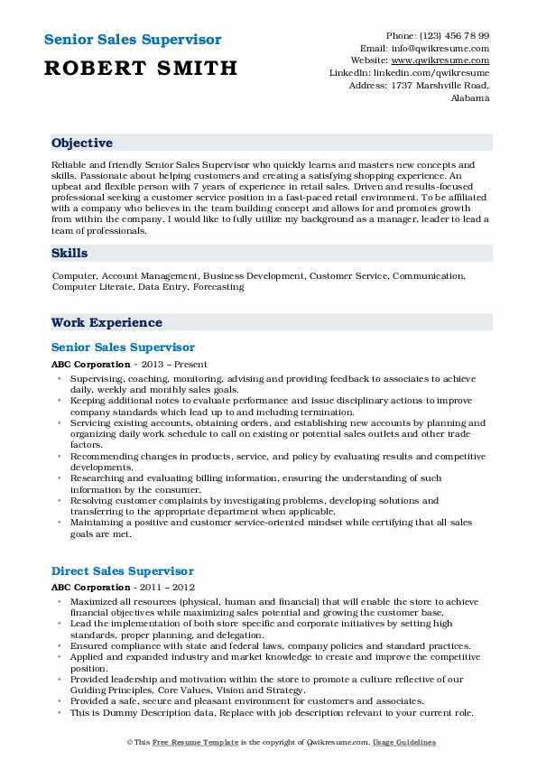 Senior Sales Supervisor Resume Format