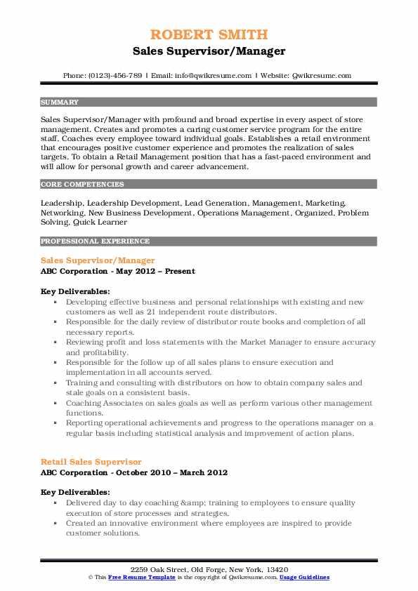 Sales Supervisor/Manager Resume Model