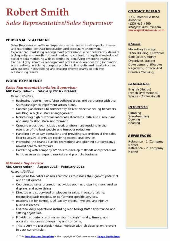 Sales Representative/Sales Supervisor Resume Format