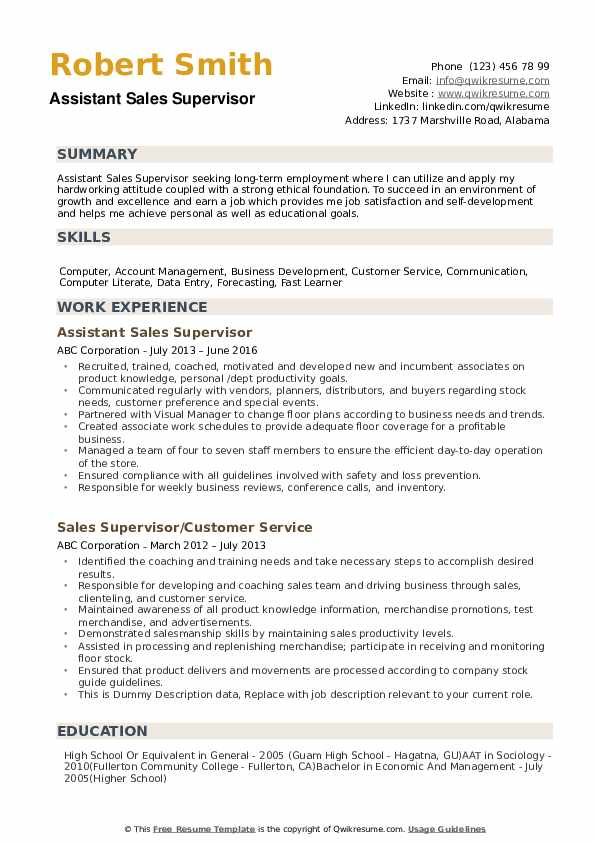 Sales Supervisor Resume example