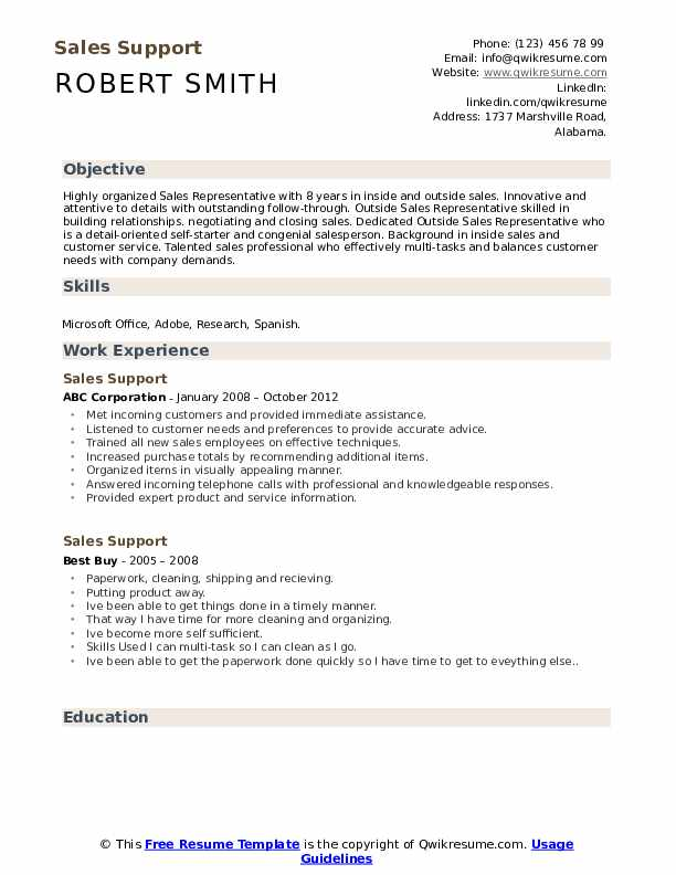 Sales Support Resume Format
