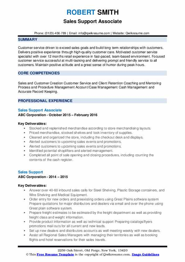 Sales Support Associate Resume Template