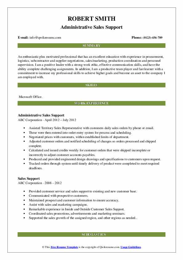 Administrative Sales Support Resume Example